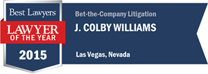 J. Colby Williams has earned a Lawyer of the Year award for 2015!