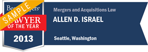 Allen D. Israel has earned a Lawyer of the Year award for 2013!