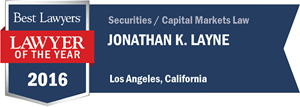 Jonathan K. Layne has earned a Lawyer of the Year award for 2016!