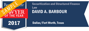 David A. Barbour has earned a Lawyer of the Year award for 2017!
