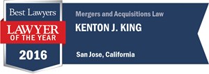 Kenton J. King has earned a Lawyer of the Year award for 2016!