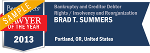 Brad T. Summers has earned a Lawyer of the Year award for 2013!