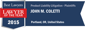 John M. Coletti has earned a Lawyer of the Year award for 2015!