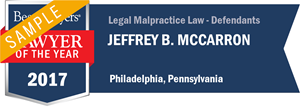 Jeffrey B. McCarron has earned a Lawyer of the Year award for 2017!