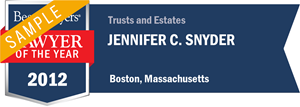 Jennifer C. Snyder has earned a Lawyer of the Year award for 2012!
