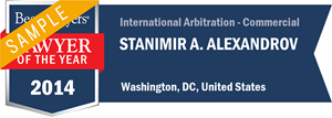 Stanimir A. Alexandrov has earned a Lawyer of the Year award for 2014!