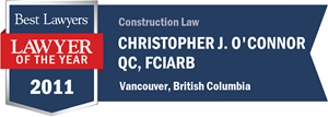 Christopher J. O'Connor QC, FCIArb has earned a Lawyer of the Year award for 2011!