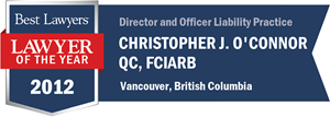 Christopher J. O'Connor QC, FCIArb has earned a Lawyer of the Year award for 2012!