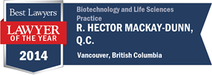 R. Hector MacKay-Dunn , Q.C. has earned a Lawyer of the Year award for 2014!