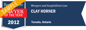 Clay Horner has earned a Lawyer of the Year award for 2012!