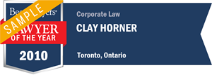 Clay Horner has earned a Lawyer of the Year award for 2010!