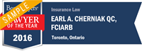 Best Lawyers' Lawyer of the Year in 2016 for Insurance Law - Toronto