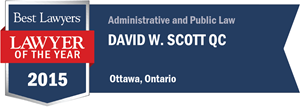 David W. Scott QC has earned a Lawyer of the Year award for 2015!
