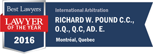 Richard W. Pound QC, Ad.E. has earned a Lawyer of the Year award for 2016!