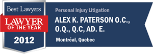 Alex K. Paterson O.C., O.Q., Q.C, Ad. E. has earned a Lawyer of the Year award for 2012!
