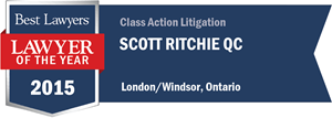 Scott Ritchie QC has earned a Lawyer of the Year award for 2015!