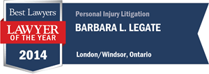 Barbara L. Legate has earned a Lawyer of the Year award for 2014!