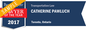 Catherine Pawluch has earned a Lawyer of the Year award for 2017!