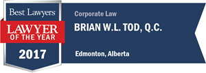 Brian W.L. Tod , Q.C. has earned a Lawyer of the Year award for 2017!