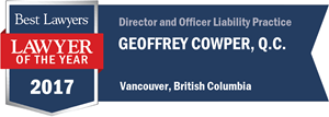 Geoffrey Cowper , Q.C. has earned a Lawyer of the Year award for 2017!