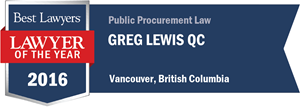 Greg Lewis , Q.C. has earned a Lawyer of the Year award for 2016!