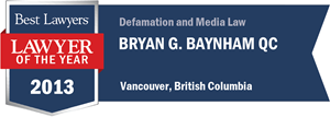 Bryan G. Baynham QC has earned a Lawyer of the Year award for 2013!