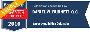Daniel W. Burnett , Q.C. has earned a Lawyer of the Year award for 2016!