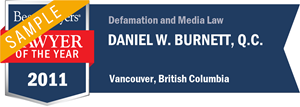 Daniel W. Burnett , Q.C. has earned a Lawyer of the Year award for 2011!