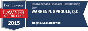 Warren N. Sproule , Q.C. has earned a Lawyer of the Year award for 2015!