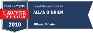 Allan R. O'Brien has earned a Lawyer of the Year award for 2010!