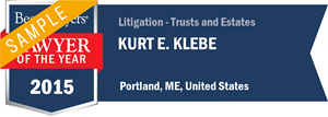 Kurt E. Klebe has earned a Lawyer of the Year award for 2015!