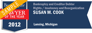 Susan M. Cook has earned a Lawyer of the Year award for 2012!