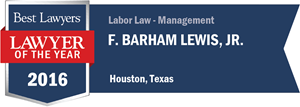 F. Barham Lewis, Jr. has earned a Lawyer of the Year award for 2016!
