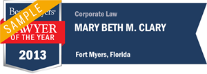 Mary Beth M. Clary has earned a Lawyer of the Year award for 2013!