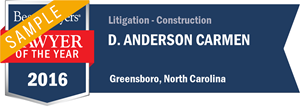 D. Anderson Carmen has earned a Lawyer of the Year award for 2016!