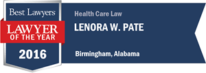 Lenora W. Pate has earned a Lawyer of the Year award for 2016!