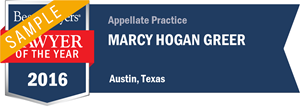 Marcy Hogan Greer has earned a Lawyer of the Year award for 2016!