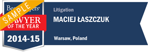 Maciej Łaszczuk has earned a Lawyer of the Year award for 2014!