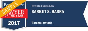 Sarbjit S. Basra has earned a Lawyer of the Year award for 2017!