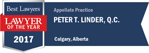 Peter T. Linder , Q.C. has earned a Lawyer of the Year award for 2017!