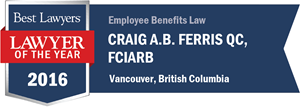Craig A.B. Ferris QC has earned a Lawyer of the Year award for 2016!