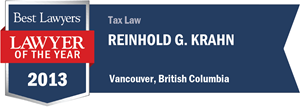 Reinhold G. Krahn has earned a Lawyer of the Year award for 2013!