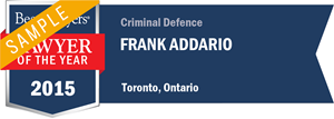 Frank Addario has earned a Lawyer of the Year award for 2015!