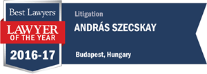 András Szecskay has earned a Lawyer of the Year award for 2016!