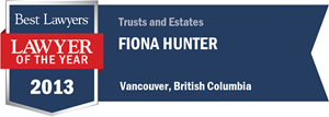 Fiona Hunter has earned a Lawyer of the Year award for 2013!