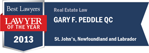 Gary F. Peddle has earned a Lawyer of the Year award for 2013!