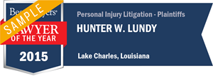 Hunter W. Lundy has earned a Lawyer of the Year award for 2015!
