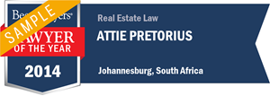 Attie Pretorius has earned a Lawyer of the Year award for 2014!