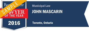 John Mascarin has earned a Lawyer of the Year award for 2016!