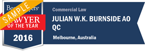 Julian W.K. Burnside AO QC has earned a Lawyer of the Year award for 2016!